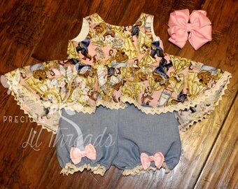Baby Girls Beauty and the Beast Romper- Toddler girls Peplum Hi Low Top & Bloomers-  Girls- size 3m, 6m, 12m, 18m, 2t, 3t, 4t, 5, 6, 7, 8