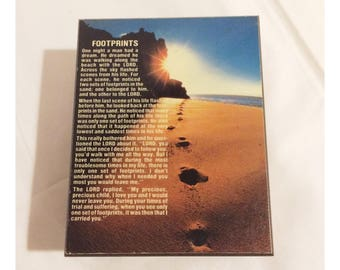 Vintage Footprints In The Sand Poem Souvenir Wooden Trinket Box