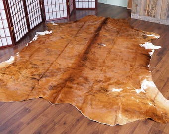 Amazing Wooden Brown Rodeo Cowhide Rug - 7.3 x 8 ft - 1857