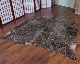 Silver Brown Acid Wash Rodeo Cowhide Rug - 5.6 x 5.3 ft - 1865