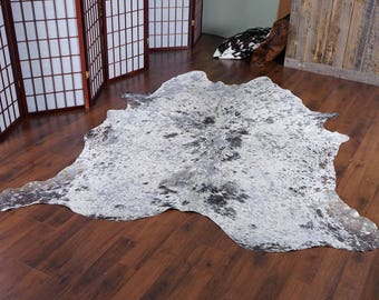 Splashed Gray Tones Rodeo Cowhide Rug 7 x 6.5 ft  -  1903