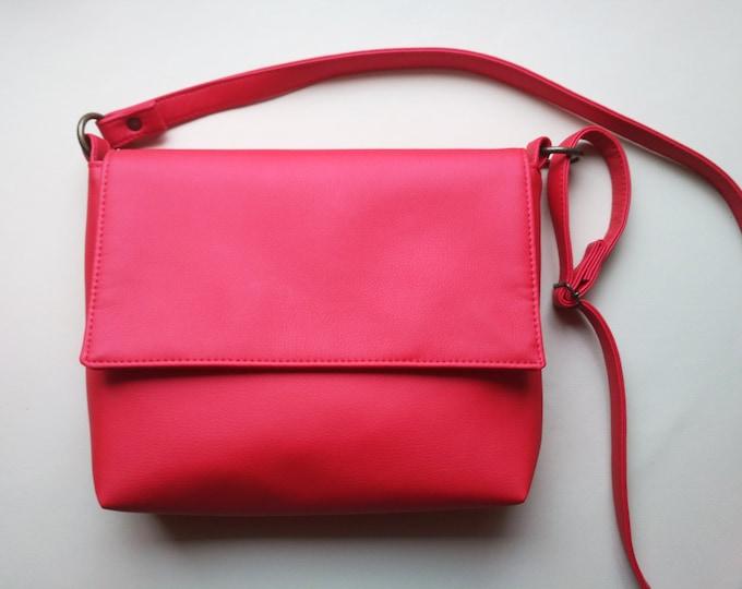 Red crossbody, Vegan Leather purse, Medium women bag, Shoulder bag, Crossbody bag