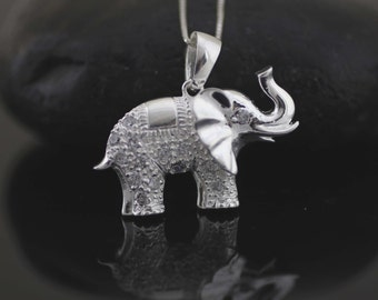 Sterling Silver Elephant Necklace, Silver Elephant With Cz, Sterling Silver Good Luck Charm Necklace, Elephant Jewelry, Elephant Jewelry