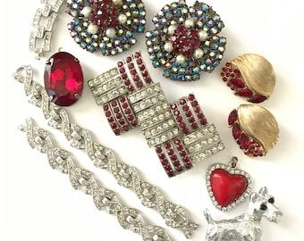 Vintage Assemblage Repair Jewelry Destash Lot Dress Clips Buckles Rhinestone Repair