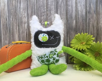 Irish Hug Monster with horns and ribbons, handmade plush, lime green and dark gray with clover pocket, St. Patrick's day gift, ready to go.