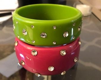 Vintage bangle bracelets with rhinestones