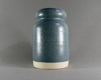 Blue glazed ceramic penholder