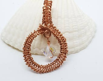 Copper wire wrapped pendant Swarovski crystal wire weaving