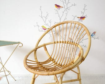 Adult rattan chair, wicker basket armchair