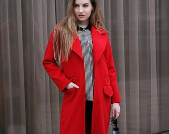 Red cashmere coat | Etsy