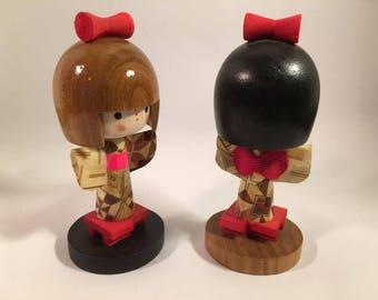 Japanese Kokeshi Geisha Wooden Figurines