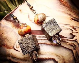 Pyrite & Stone Earrings