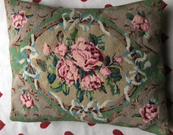 Large needlepoint cushion hand embroidered floral traditional pillow