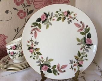 "Beautiful Wedgwood HATHAWAY ROSE, 9 1/2"" Round Cake Plate.  Fine Bone China Made in England."