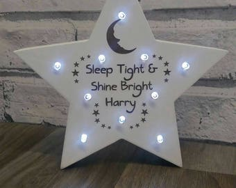 Personalised Led Star Light, New baby, Nursery, Memory