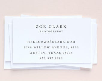 Custom Letterpress Business Cards | Simple + Classic | Set of 100