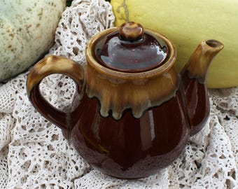 Small Brown and Caramel Pottery Teapot - Drip Glazed from Taiwan