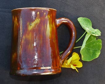 Ewenny Welsh Pottery Pint Mug / Tankard - Yummy Treacle Brown Drip Glaze