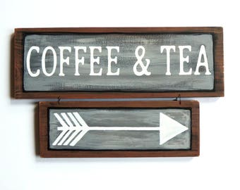 Coffee and Tea sign, Coffee signs, Tea signs, Kitchen decor, Coffee shop signs, Cafe signs, Cafe decor, Kitchen wall art, Wood signs sayings