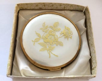 Vintage compact. Gold tone boots  handbag mirror. Gift idea for her