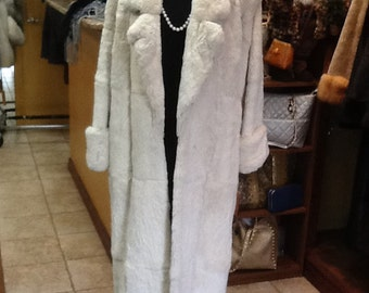 Full length rabbit fur coat