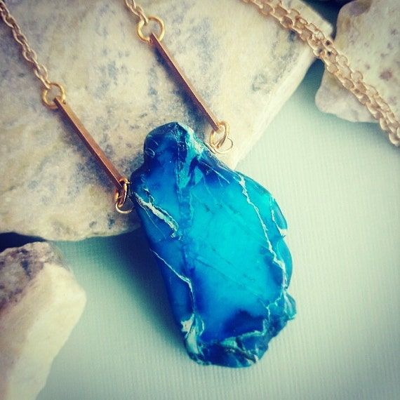 The JASPER SLICE Necklace // Natural Jasper Blue Slice Stone on a Gold Plated Chain // Boho Hippie Layering Necklace