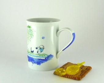 Porcelain Cup,Ceramic Cup,Chope en Porcelaine,Blue Cup, Black Cat ,