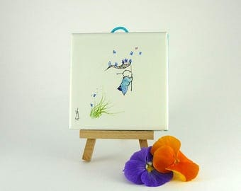 Painting on Ceramic,Butterfly Painting, Blue Painting,Miniature painting
