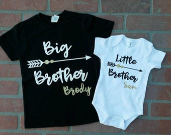 Personalized Big Brother/ Little Brother Shirt / Onesie set