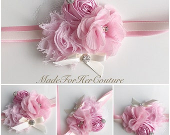Pink Corsages, Wrist Flower, Wrist Corsage, Wedding Corsage, pink ivory Corsage, White Corsage, Wedding Wrist Band, Wedding wrist corsage