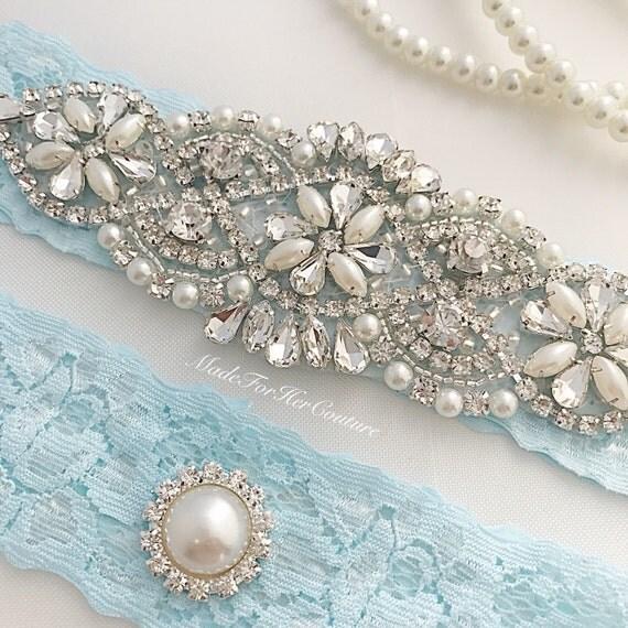 Light Blue Wedding Garter Light Blue Bridal Garter Set Blue