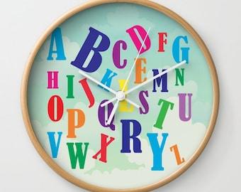 Alphabet Letters Kids Wall Clock , Wall Clock , Nursery Clock , Wooden Wall Clock , Kids Room Decor , Children Wall Clock , Kid Clock