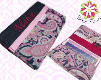 Immunization booklet health cover personnalized  prénom damask flower pink coton