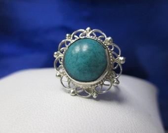 BOHO Sterling Silver Turquoise Flower Ring