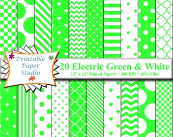 Electric Green Digital Paper Pack, 12x12 Spring Green Scrapbook Paper Instant Download Digital File, Bright Green Patterned Paper
