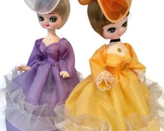 Vintage Bradley Big Eye Dolls Elegant Southern Belles Set of 2 in Colorful Gowns and Hats