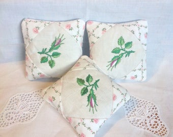 Lavender sachet trio - Vintage fabric - Ladybugs - Ladybirds -Lavender bees - Rosebuds - Dragonflies - Embroidered - English cottage