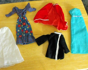 5 Barbie Doll Sized Clothes, Dress, Gown, Cape, Slip, Top