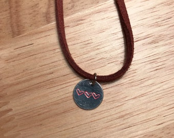 Three Heart Stamped Necklace