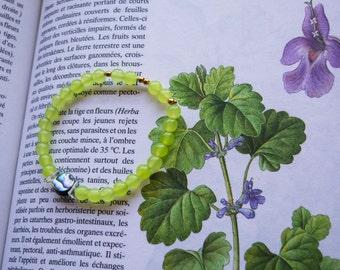 Algae - Bracelet green chalcedony and abalone