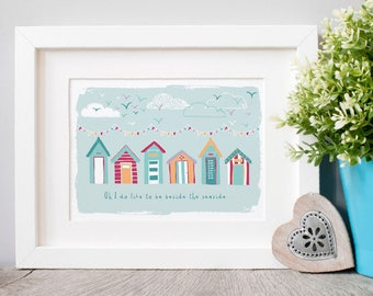 Beside the Seaside Illustrated Art Print