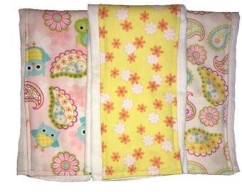 Lily Owl Burp Rag Trio, burl cloth, cloth diaper burp rag