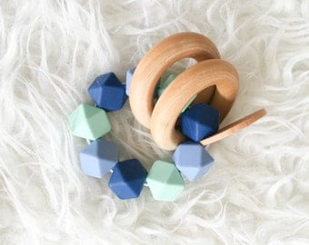 Powder Blue Teething Toy Blue Teether Silicone Teether Handmade teething toy Wooden Rattle