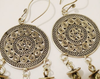Vge RARE Sterling Silver Stamped Hand Crafted Tribal Dangle Earrings
