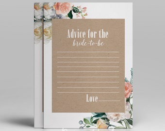 Floral advice for the bride card printable bridal advice instant download romantic advice for bride-to be flowers rustic craft paper