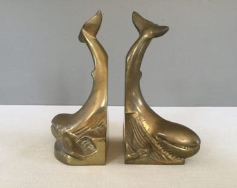 Pair of Brass Whale Bookends - Mid-Century Brass Ocean Animals - Office Decor - Library Decor - Nautical - Beach House Decor