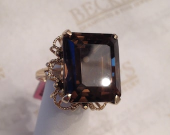 Vintage 14k yellow gold Emerald Cut Smoky Quartz Ring in Frilly Rope Filigree Halo size 5.75, 18.74 ct