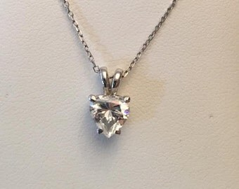 "14k white gold 7mm Heart Shaped CZ Cubic Zirconia solitaire pendant on an 18"" chain"