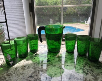 Vereco France 1970's PITCHER and Six water GLASS set Made in FRANCE Vintage Gift Mothers Day if You Oder Now/Wedding/Shower/Kitchen