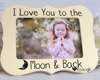 i love you to the moon back picture frame gift for newborn baby shower gift baby picture frame 4x6 opening